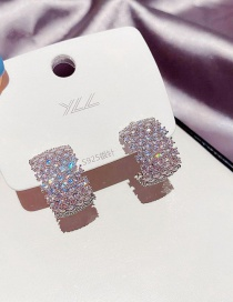 Fashion Platinum Plated Copper Inlaid Zircon Geometric C-shaped Earrings