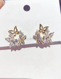 Fashion Real Gold Color Plated Micro Inlaid Zircon Leaf Flower Butterfly Earrings