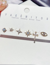 Fashion Real Gold Color Plated Small Star Cross Eyes And Micro-inlaid Zircon Earrings Set