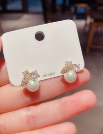 Fashion Real Gold Color Plated Micro-set Zircon Fruit Pearl Earrings