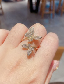 Fashion Real Gold Color Plated Full Diamond Micro Inlaid Zircon Butterfly Open Ring