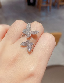 Fashion Platinum Plated Full Diamond Micro Inlaid Zircon Butterfly Open Ring