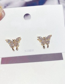 Fashion Real Gold Color Plated Small Butterfly Micro-set Zircon Earrings In Real Gold