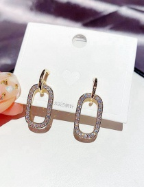 Fashion Real Gold Color Plated Copper Inlaid Zircon Geometric Hollow Earrings