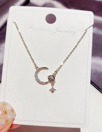 Fashion Real Gold Color Plated Micro-set Zircon Planet Moon Copper Plated Real Gold Necklace