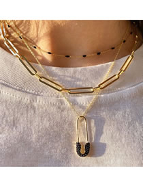 Fashion Gold Coloren Brooch Multilayer Chain Necklace