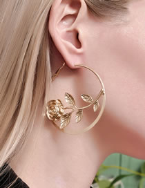 Fashion Gold Coloren Round Rose Alloy Earrings