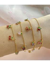 Fashion Gold Coloren Cherry Apple Grape Peach Multilayer Bracelet