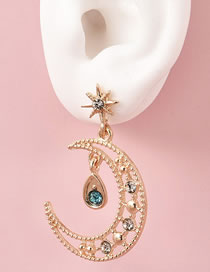 Fashion Gold Coloren Diamond Five-pointed Star Moon Alloy Hollow Earrings