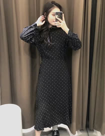 Fashion Black Five-pointed Star Print Long Sleeve Dress