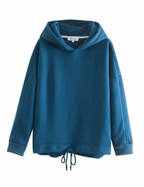 Fashion Blue Drawstring And Fleece Hooded Pullover