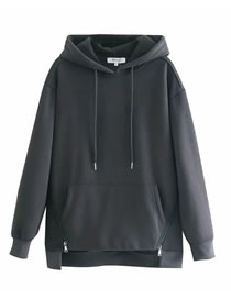 Fashion Black Zipper And Fleece Panel Hooded Sweatshirt