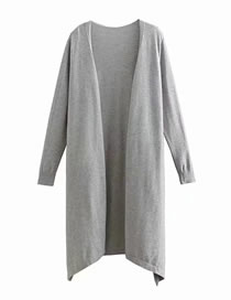 Fashion Gray Irregularly Large Core-spun Cardigan