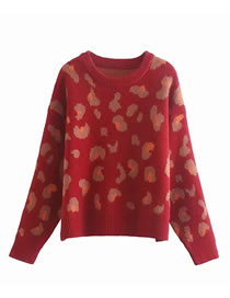 Fashion Red Thick Round Neck Leopard Jacquard Loose Short Pullover Sweater