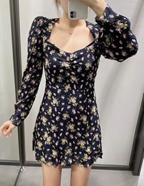 Fashion Black Floral Printed Square Neck Pleated Puff Sleeve Dress