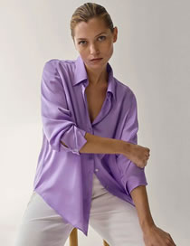 Fashion Purple Solid Color Loose V-neck Shirt Top