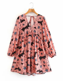 Fashion Pink Flowers Printed V-neck Puff Sleeve Dress