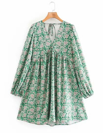 Fashion Green Floral V-neck Puff Sleeve Printed Jumpsuit
