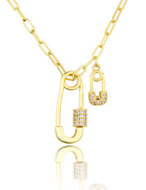 Fashion Gilded Large And Small Pin Turnbuckle Necklace