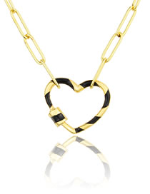 Fashion Gilded Striped Heart-shaped Turnbuckle Necklace
