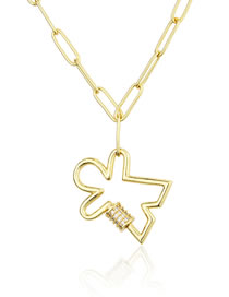Fashion Gilded Screw Buckle Diamond Cutout Necklace
