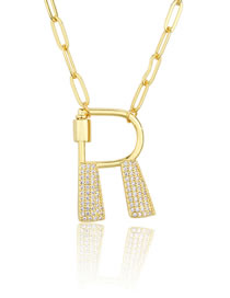 Fashion R Gold Color Screw Buckle Letter Diamond Hollow Necklace
