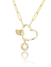 Fashion Gilded Palm Love Screw Buckle Smiley Eyes Tag Necklace