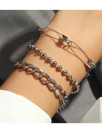 Fashion Silver Color Color Round Bead Pin Beaded Alloy Multilayer Bracelet