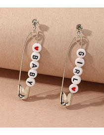 Fashion Silver Color Color Pin Letter Resin Alloy Earrings