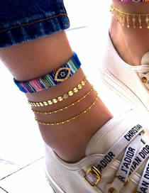 Fashion Color Mixing Hand-made Disc Eye Bead Chain Multilayer Anklet