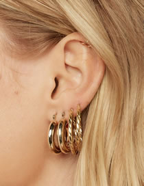 Fashion Gold Color Color Geometric Round Alloy Multilayer Earrings