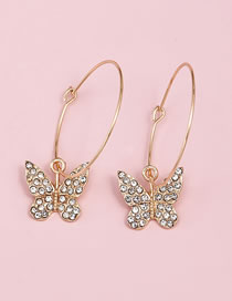 Fashion Gold Color Color Butterfly Diamond Round Alloy Earrings