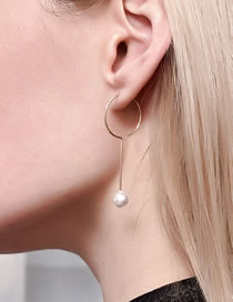 Fashion Gold Color Color Round Pearl Pendant Alloy Earrings