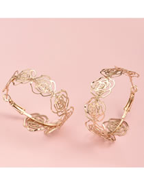 Fashion Gold Color Color Rose Alloy Hollow Earrings