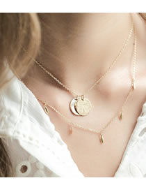 Fashion Gold Color Color Disc Shell Alloy Multilayer Necklace