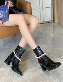 Fashion Black Square Toe Pearl Chain High Block Heel Patent Leather Short Boots