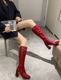 Fashion Red Wine Square Toe Thick High-heeled Shiny Soft Leather Stretch High Boots