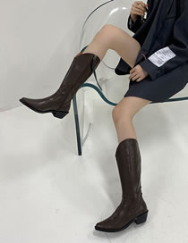 Fashion Brown Soft Leather Thick Heel Pointed Side Zipper High Boots