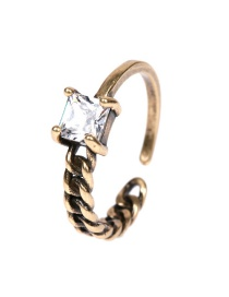 Fashion Bronze Asymmetric Chain Clasp With Zircon Open Ring