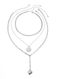 Fashion White K Alloy Love Circle Multilayer Necklace