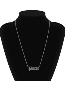 Fashion Pisces White K Twelve Constellation Hollow Stainless Steel Necklace