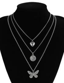 Fashion White K Butterfly Love Portrait Alloy Multilayer Necklace