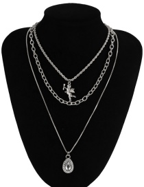 Fashion White K Cross Chain Angel Drop-shaped Diamond Alloy Multilayer Necklace