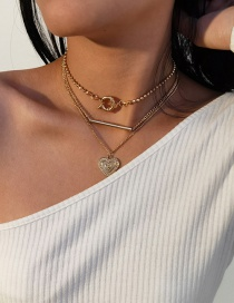 Fashion Gold Color Heart Lock Alloy Multilayer Necklace