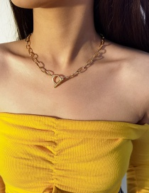 Fashion Gold Color Ot Buckle Hollow Alloy Necklace