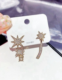 Fashion Real Gold Plated Micro-set Zircon Moon Star Asymmetrical Earrings