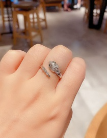 Fashion Platinum Plated Micro-set Zircon Snake-shaped Open Ring