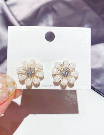 Fashion Real Gold Plated Colored Glaze Flower Micro-inlaid Zircon Earrings