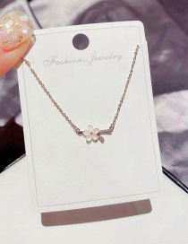 Fashion Rose Gold Plated Colored Glaze Flower Micro-inlaid Zircon Necklace