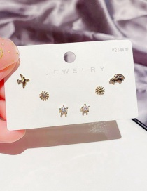 Fashion Real Gold Plated Small Plane Car Sun Zircon Star Earring Set